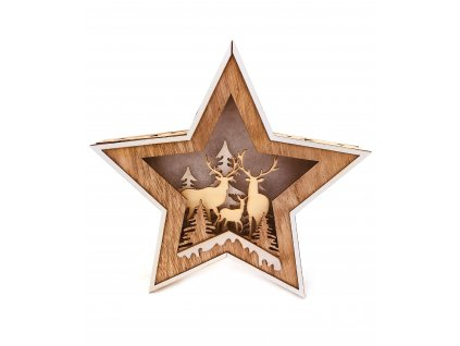 152126 drevena svitici dekorace hvezda jeleni s kolouskem