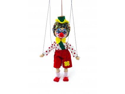 153101 drevena loutka klaun s kratkymi kalhotami 22 cm