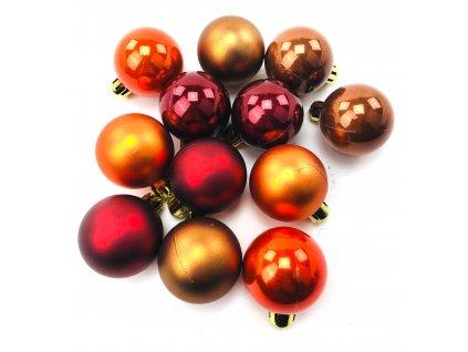 Vánoční koule - Hnědo-červené (4 cm) (Vánoční dekorativní koule Velikost 4cm - 1x balení (12x koule))