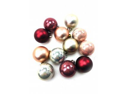 Vánoční koule - Růžovo-stříbrné (4 cm) (Vánoční dekorativní koule Velikost 4cm - 1x balení (12x koule))