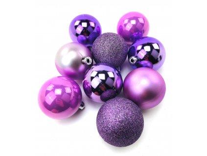Vánoční koule FIALOVÉ - různé velikosti (Vánoční dekorativní koule Velikost 2cm - 1x balení (12x koule))