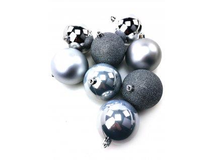 Vánoční koule STŘÍBRNÉ - různé velikosti (Vánoční dekorativní koule Velikost 2cm - 1x balení (12x koule))
