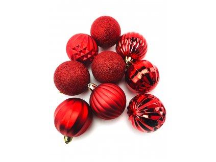 Vánoční koule vzorované - Červené (6 cm) (Vánoční dekorativní koule Velikost 6cm - 1x balení (9x koule))