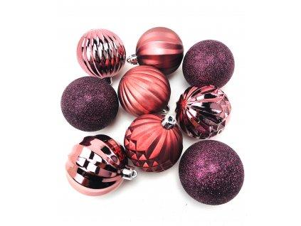 Vánoční koule vzorované - Měděné (6 cm) (Vánoční dekorativní koule Velikost 6cm - 1x balení (9x koule))