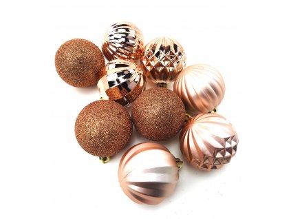 Vánoční koule vzorované - Rose-gold (6 cm) (Vánoční dekorativní koule Velikost 6cm - 1x balení (9x koule))