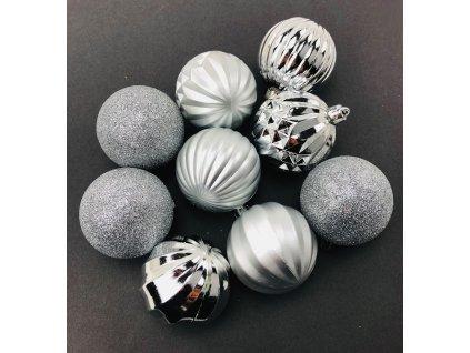 Vánoční koule vzorované - Stříbrné (6 cm) (Vánoční dekorativní koule Velikost 6cm - 1x balení (9x koule))