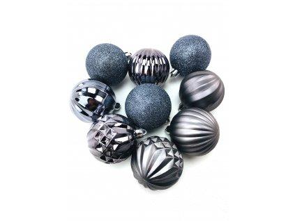 Vánoční koule vzorované - Tmavě šedé (6 cm) (Vánoční dekorativní koule Velikost 6cm - 1x balení (9x koule))