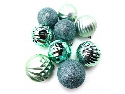 Vánoční koule vzorované - Zelené (6 cm) (Vánoční dekorativní koule Velikost 6cm - 1x balení (9x koule))