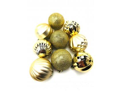 Vánoční koule vzorované - Zlaté (6 cm) (Vánoční dekorativní koule Velikost 6cm - 1x balení (9x koule))