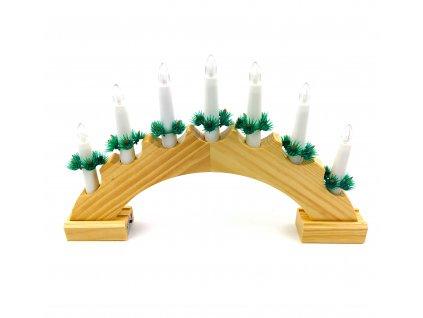 Vánoční svícen oblouk - 7 žárovek (na baterie) (Opicka Bílý)