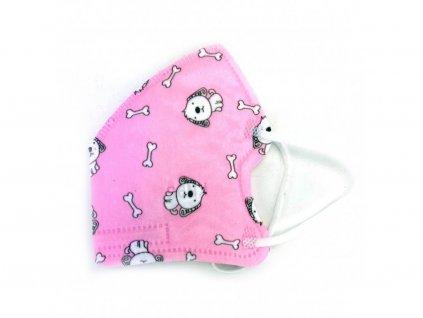 Dětský respirátor KN95 s pejsky - růžový (5 ks)
