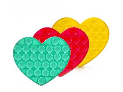 Antistresová hračka BUBBLE POP IT - Srdce (náhodná barva)