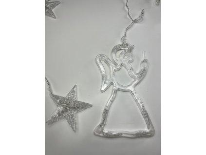 Vnitřní vánoční LED závěs - Hvězdy s andělem 2,5 m (138 LED)