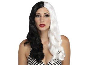 Paruka - Dlouhé Černo-Bílé Vlasy