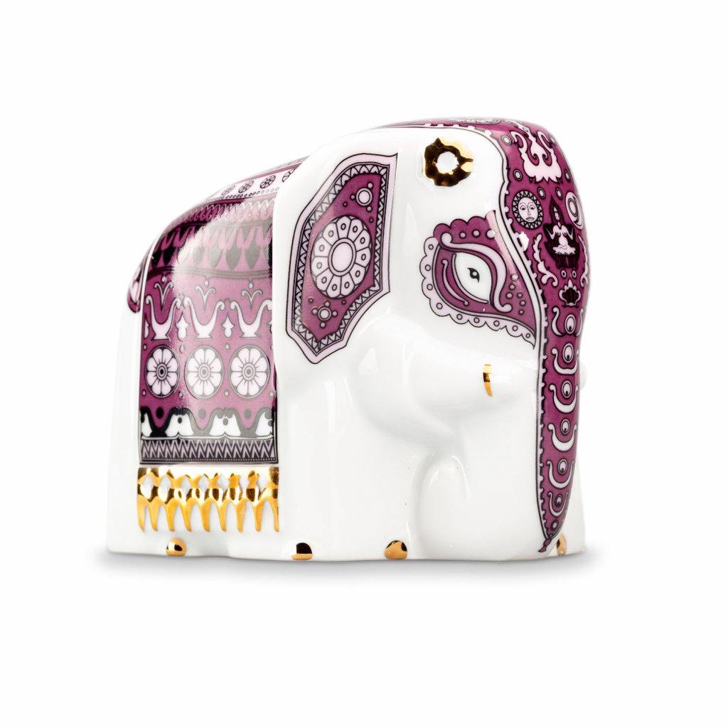 Porcelánový slon s černým čajem - fialový 50 g