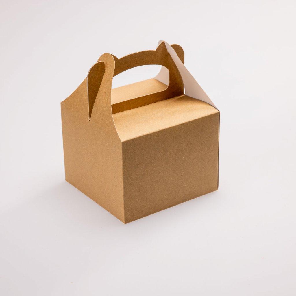 Papírová krabička na zákusky malá hnědá