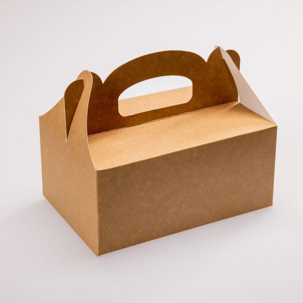 Papírová krabička na zákusky velká hnědá