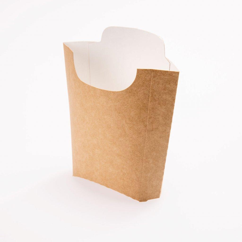 Kornoutek na hranolky, hnědá/bílá, 150ml, PAP