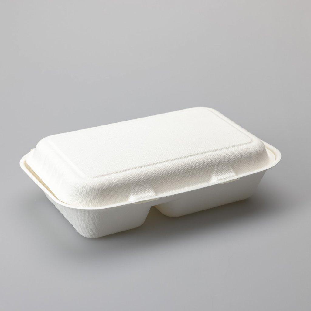 Menubox bílý, 100% kompostovatelný- 2D- 240x155x70mm, Třtina- 50ks