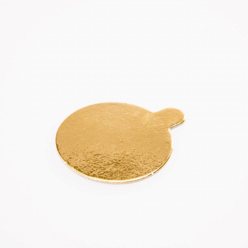 Tácek pod zákusek 70mm kulatý, zlatý