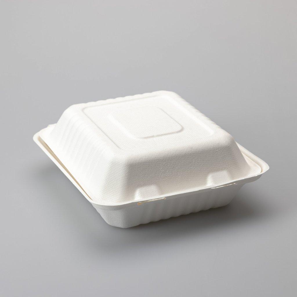 Menubox bílý, 100% kompostovatelný- 1D- 215x200x80mm, Třtina- 100ks