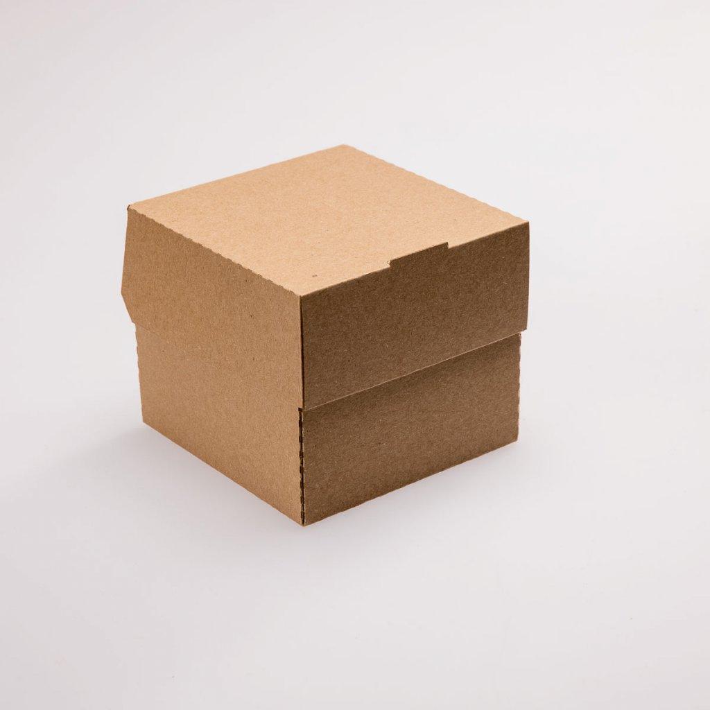 Rozkládací krabička na hamburger hnědá- 120x118x106mm, PAP/PE