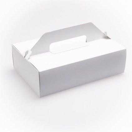 Krabice zákusková s uchem, bílá - 270x180x80mm