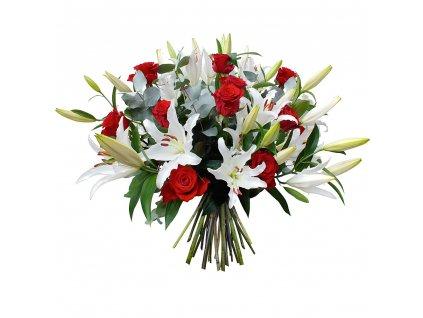 bouquet haut rond rose fleur lys rouge blanc 32311