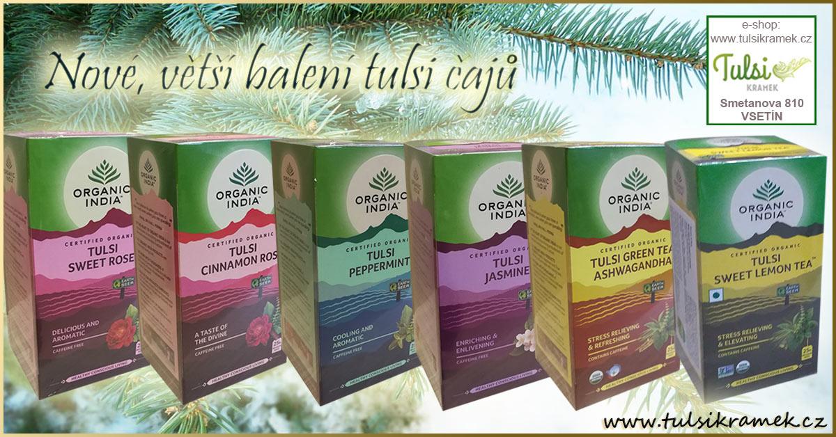 Tulsi čaje Organic India nově ve výhodném balení