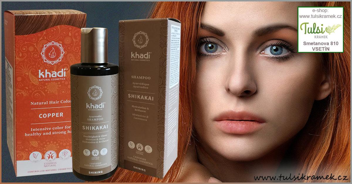 Khadi měděná barva a šampon shikakai
