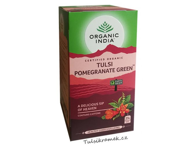 organic india tulsi se zelenym cajem a granatovym jablkem