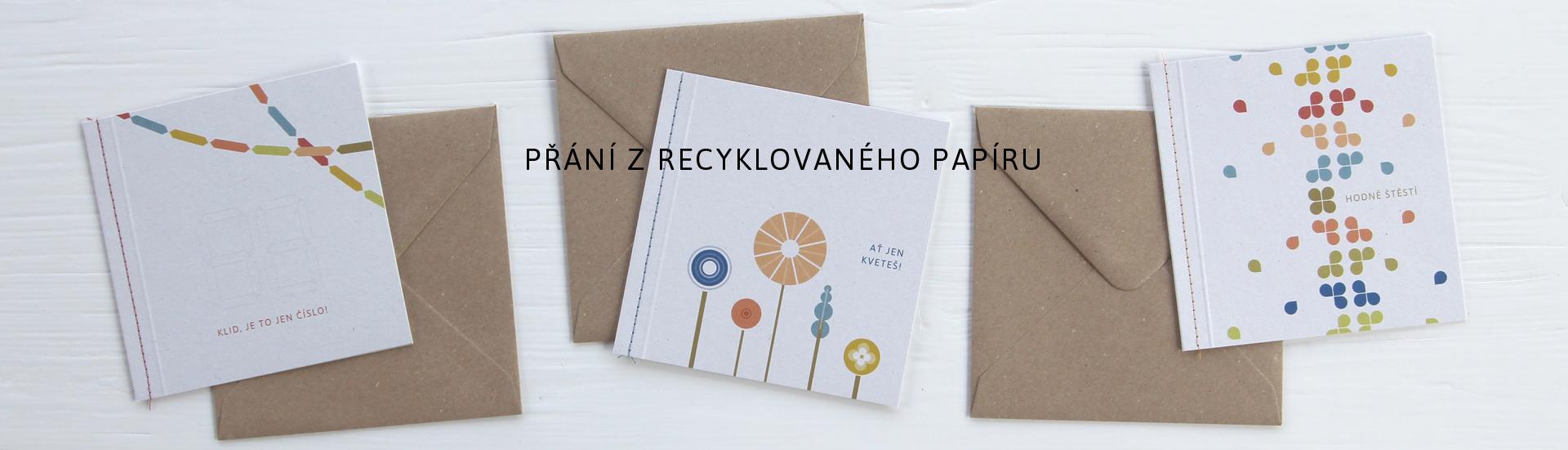 přání k narozeninám a svátku z recyklovaného papíru