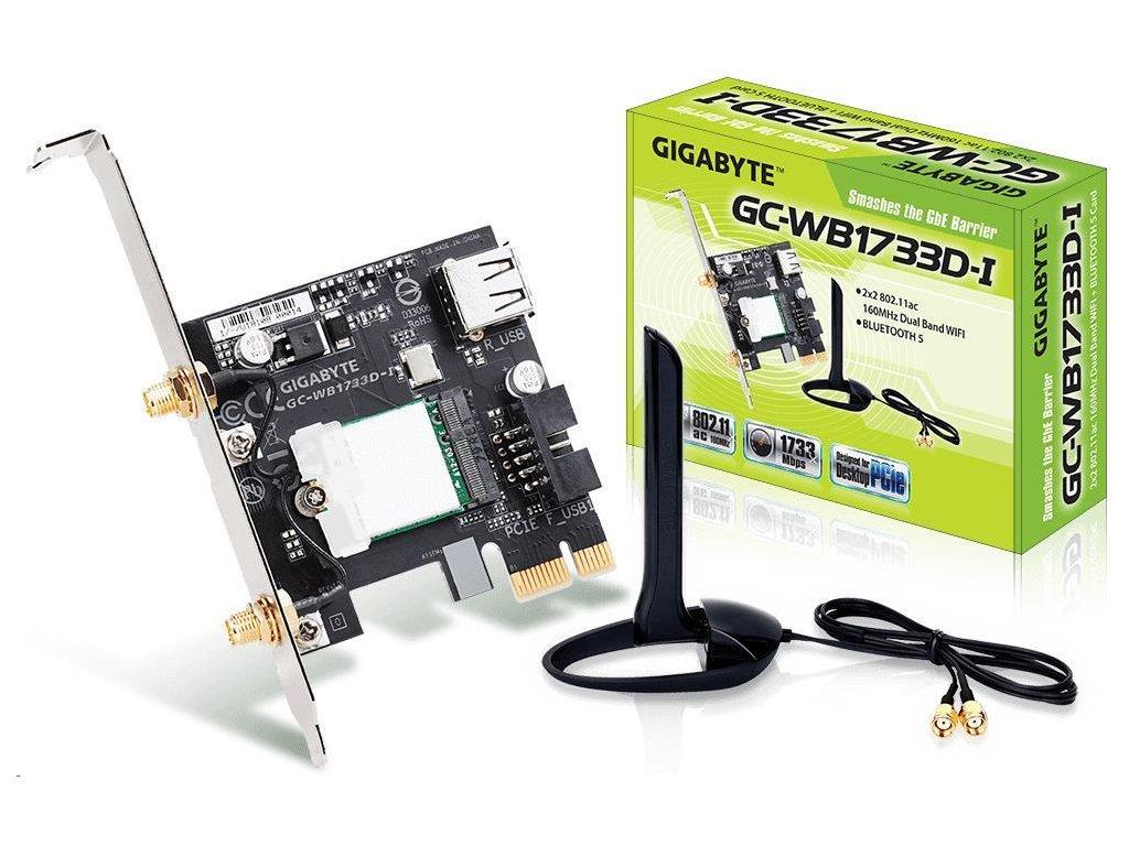 GIGABYTE GC-WB1733D-I, WiFi 802.11ac, Bluetooth 5, PCIe, Dual Band, 1734 Mbps