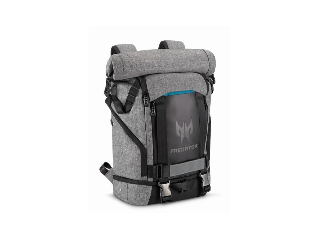 """PREDATOR GAMING ROLLTOP BACKPACK 15,6"""" GRAY BLACK with Blue Accent (RETAIL PACK),"""