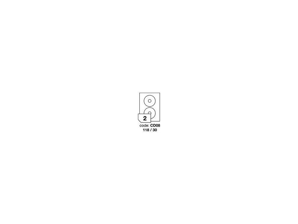 RAYFILM Štítky CD08 118/30 univerzálne biele *R0100CD08A, 100 listů
