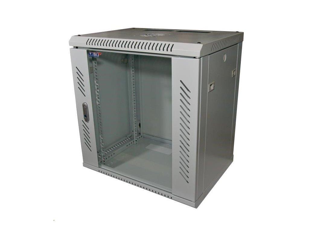 """LEXI 19"""" nástěnný rozvaděč 12U, šířka 600mm, hloubka 450mm, skleněné dveře, nosnost 60kg, dodáván rozložený, barva šedá"""