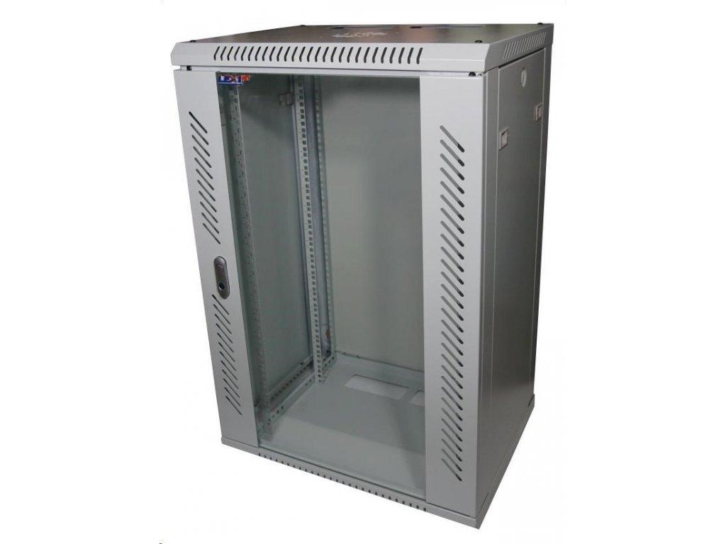 """LEXI 19"""" nástěnný rozvaděč 18U, šířka 600mm, hloubka 600mm, skleněné dveře, nosnost 60kg, svařovaná konstrukce, šedý"""