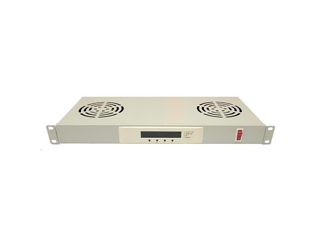 """LEXI 19"""" ventilační jednotka, 2 ventilátory, LCD, digitální termostat, 1U, hloubka 200mm, šedá"""