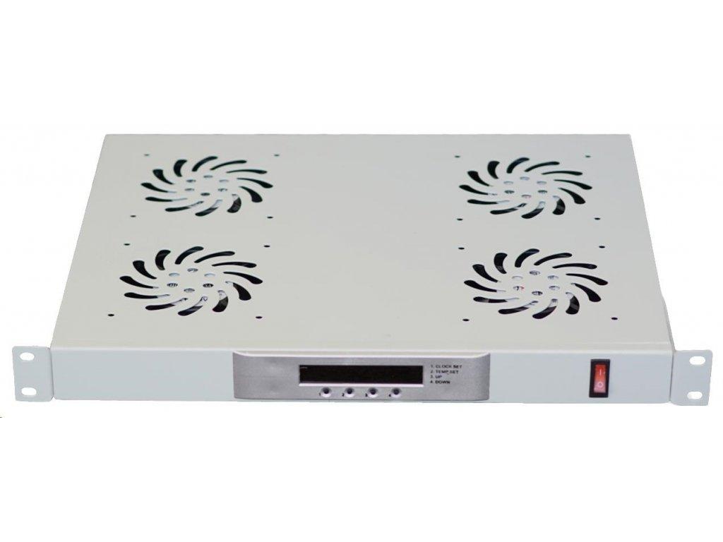 """LEXI 19"""" ventilační jednotka, 4 ventilátory, LCD, digitální termostat, 1U, hloubka 350mm, šedá"""