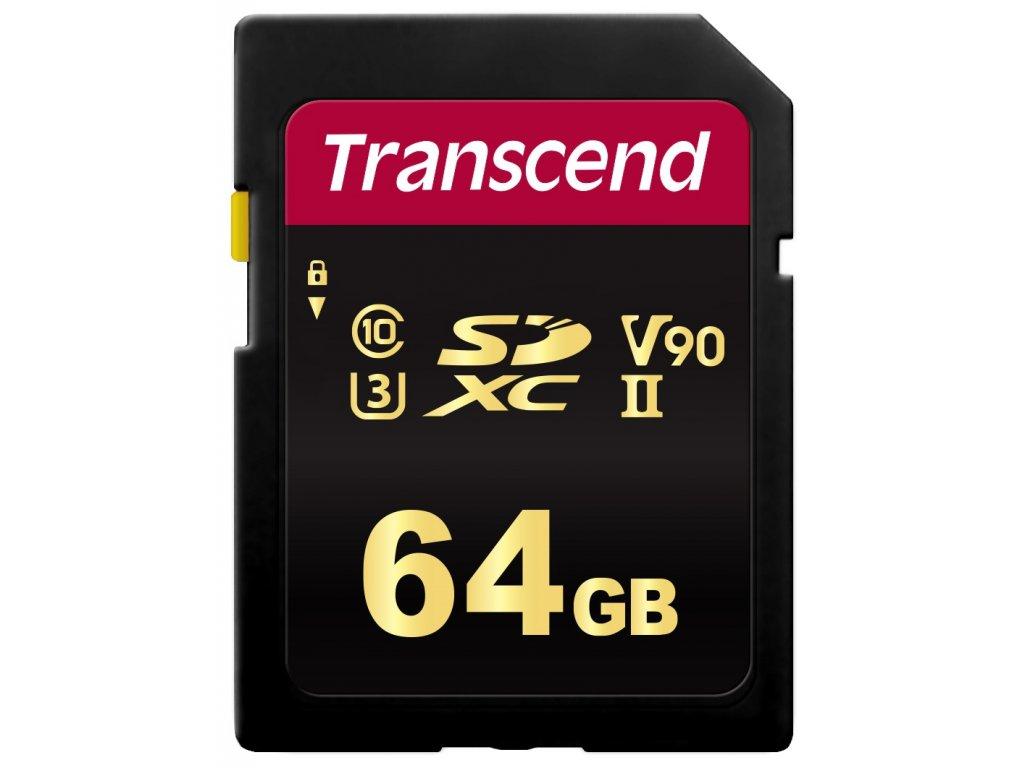 TRANSCEND SDXC karta 64GB 700S, UHS-II U3 Class 10 (R:285/W:180 MB/s)