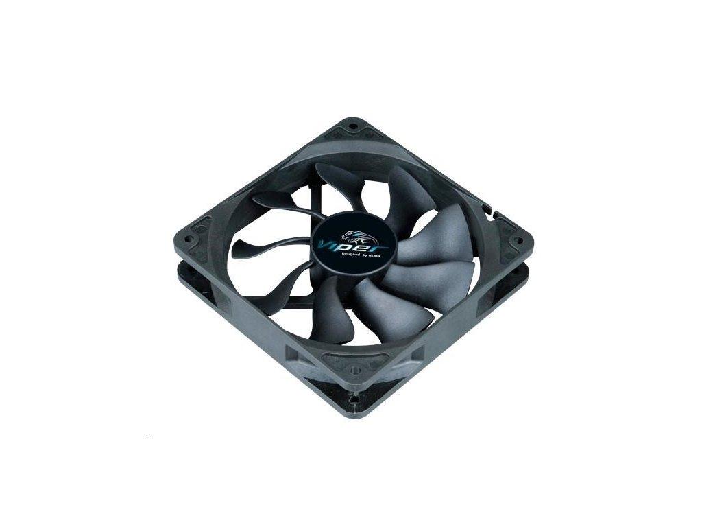 AKASA ventilátor Viper, Black Fan 12cm, 120x120x25mm, HDB, 4 pin PWM