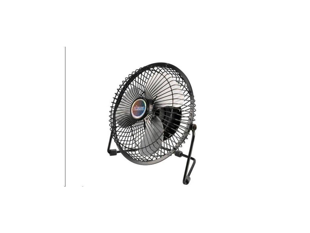 """AKASA stolní ventilátor 6"""", 197 x 125 x 190mm, napájení z USB portu, hliníkové lopatky"""
