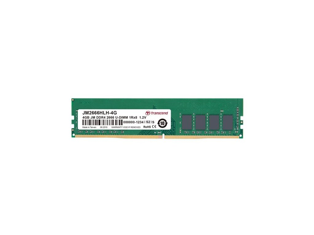 DIMM DDR4 4GB 2666MHz TRANSCEND 1Rx8 512Mx8 CL19 1.2V