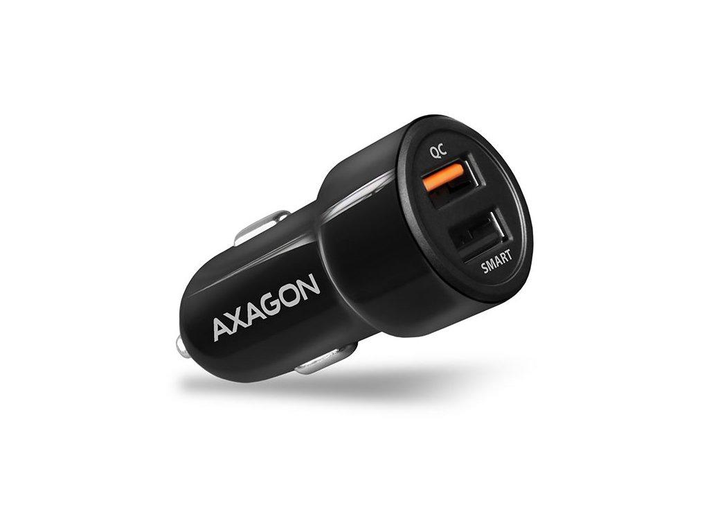 AXAGON PWC-QC5, QUICK a SMART nabíjačka do auta, 2x port QC3.0/AFC/FCP + 5V-2.6A, 31.5W