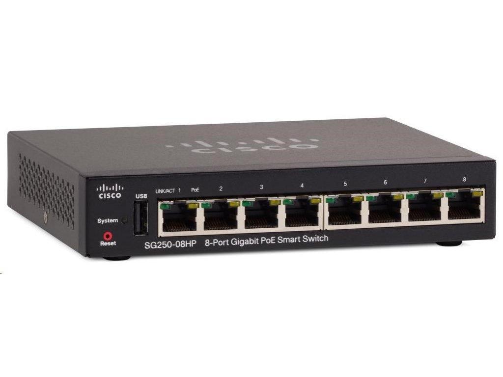 Cisco switch SG250-08HP, 8x10/100/1000, PoE