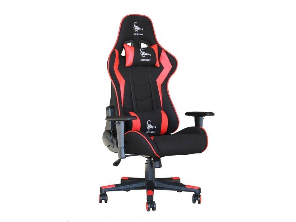 GEMBIRD Gaming chair / herní křeslo SCORPION 02, černá sítovina, červená kůže