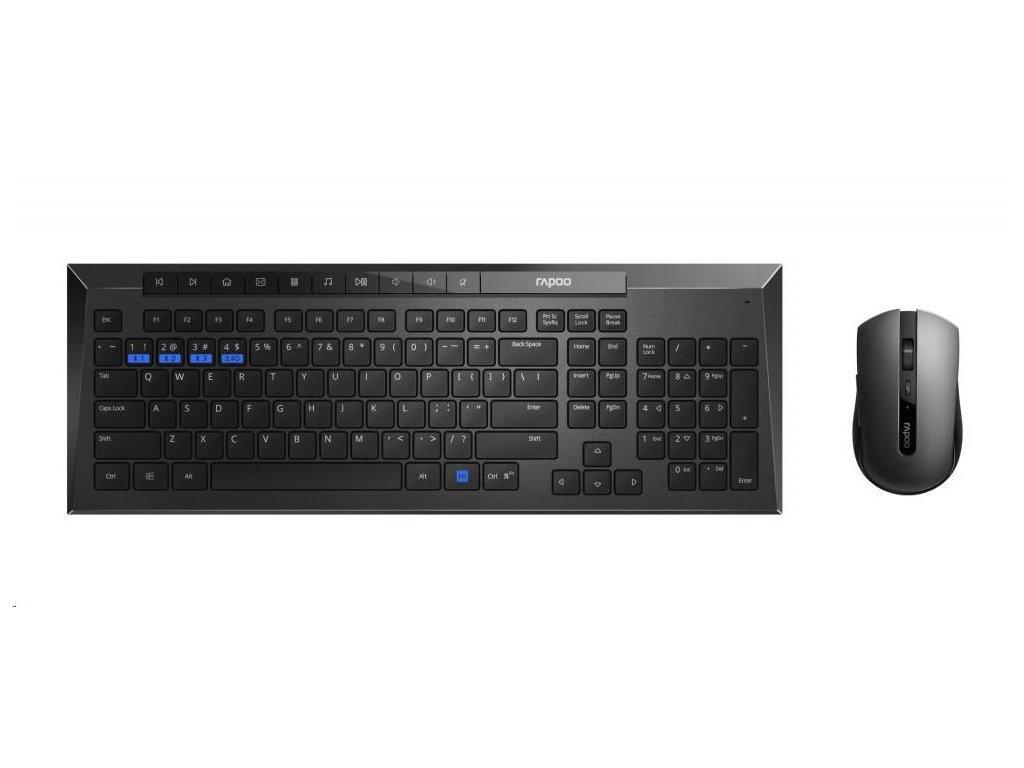 RAPOO set klávesnice a myš 8200M Wireless Multi-Mode Optical Mouse and Keyboard Set Black CZ/SK