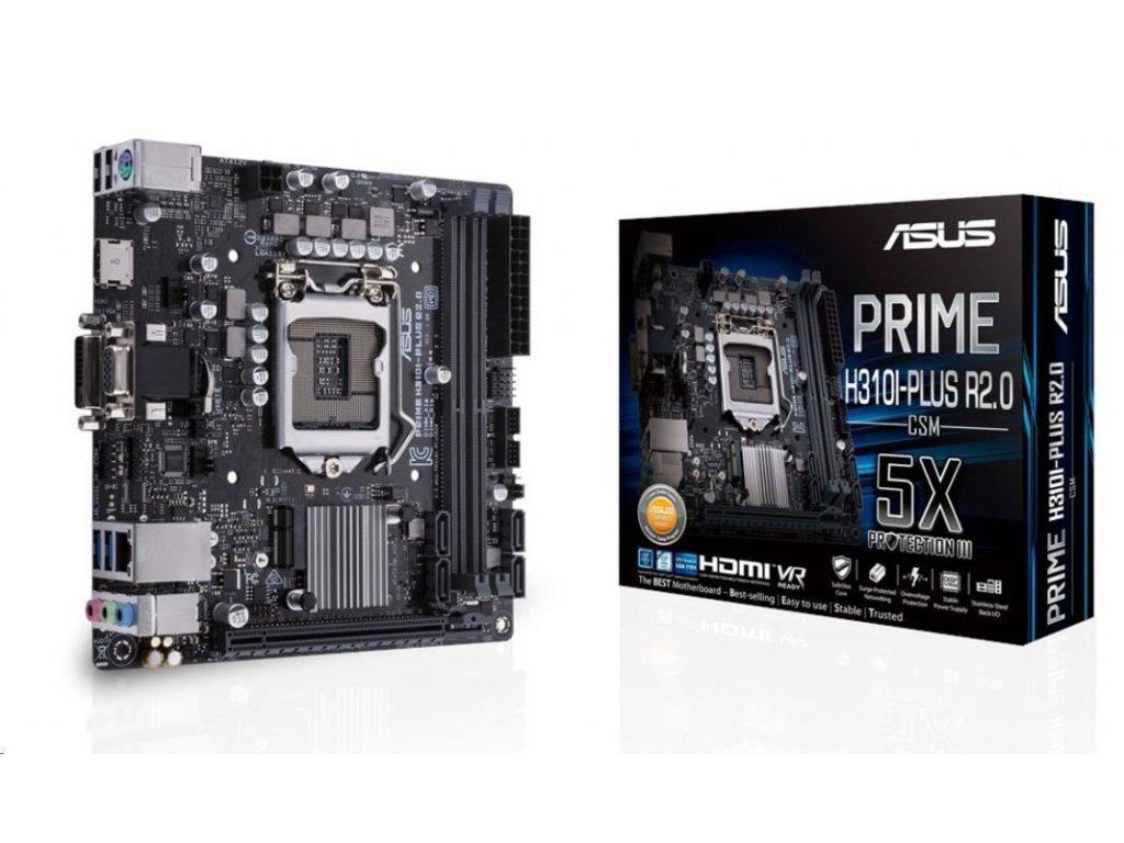 ASUS MB Sc LGA1151 PRIME H310I-PLUS R2.0/CSM (SW + PUR RMA), Intel H310, 2xDDR4, 1xDVI, 1xHDMI, 1xVGA, mini-ITX
