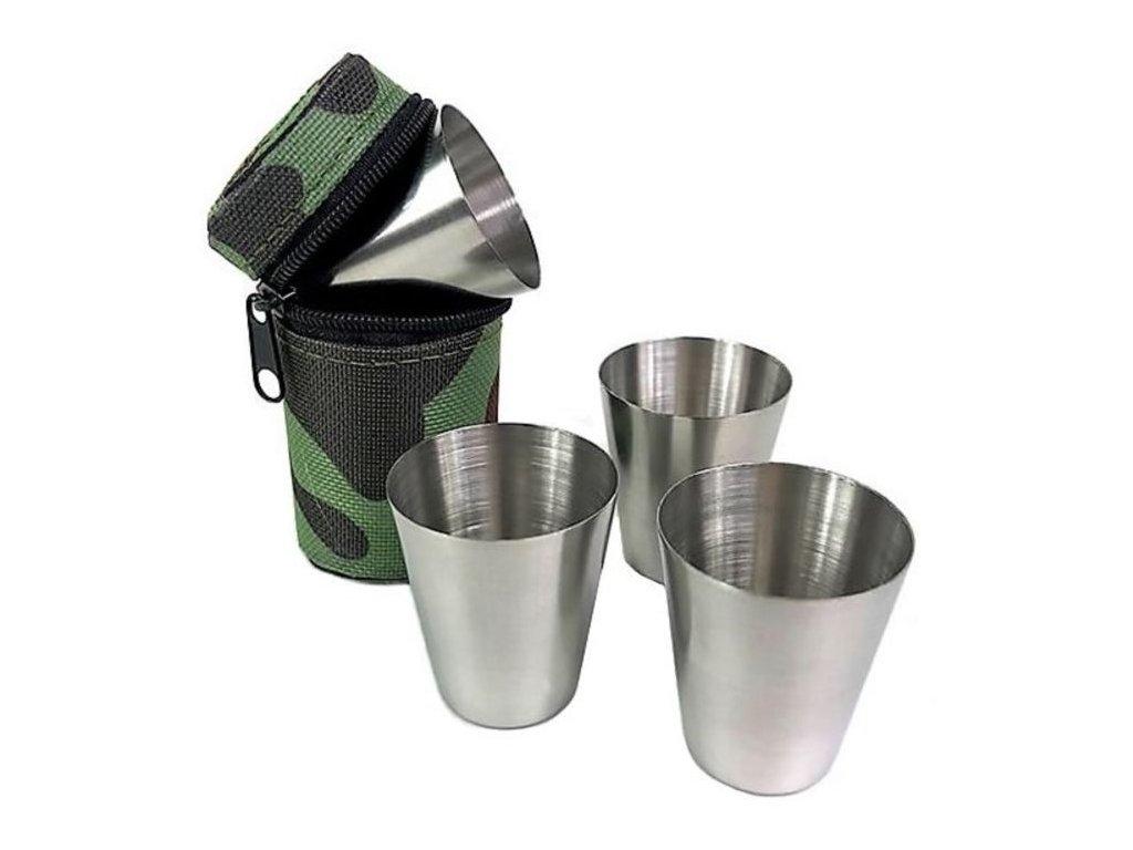Nerezové poháriky v púzdre L 80ml 4ks maskáčové (1)