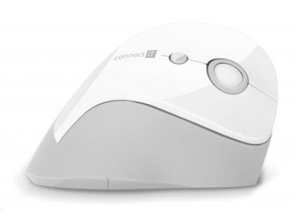 CONNECT IT FOR HEALTH ergonomická vertikální myš, (+ 1x AA baterie zdarma), bezdrátová, BÍLÁ